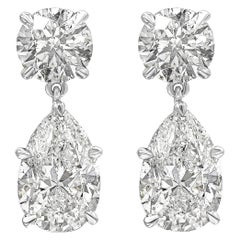 6.05 Carat GIA Certified Pear Shape Diamond Dangle Drop Earrings