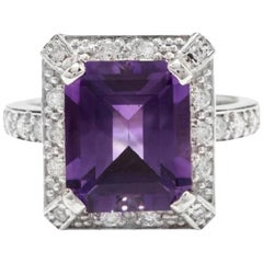 6.05 Carat Impressive Natural Amethyst and Diamond 14 Karat White Gold Ring