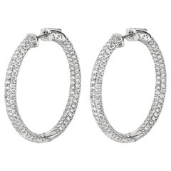 6.05 Carat Natural Diamond Pave Hoop Earrings G SI 14 Karat White Gold