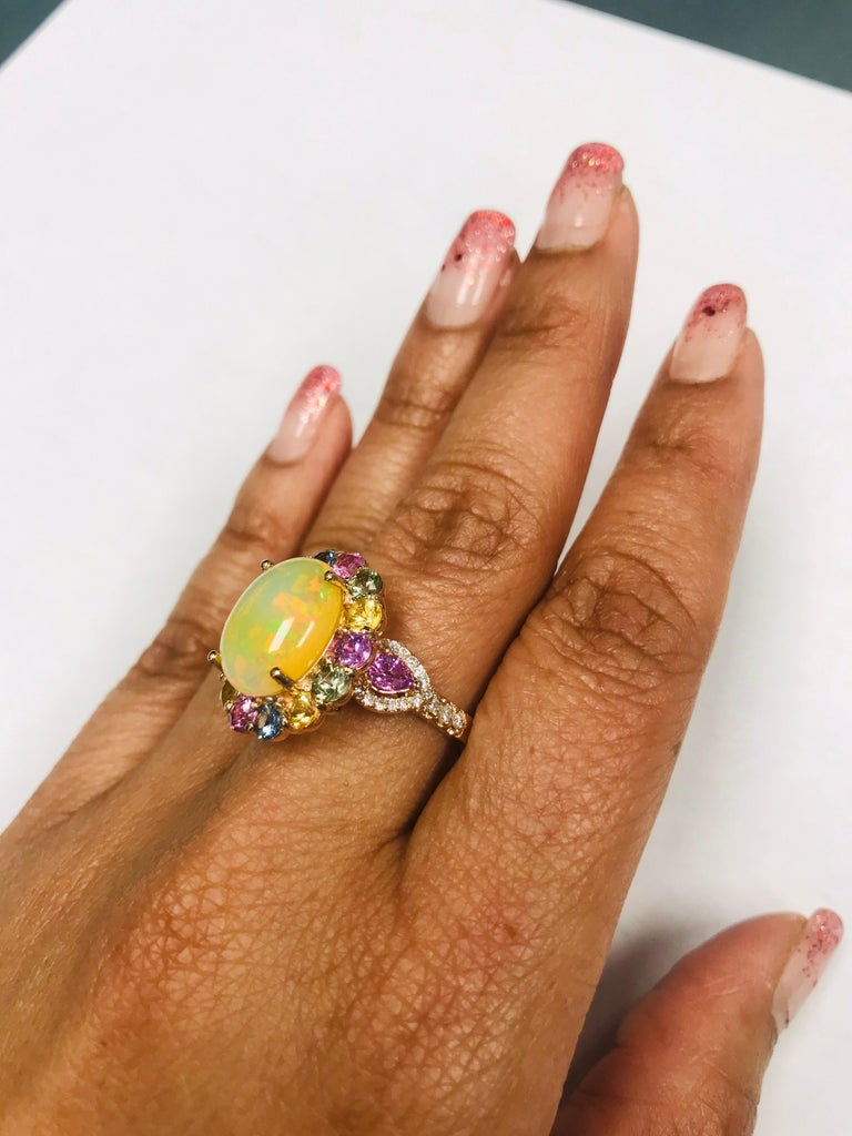 6.05 Carat Opal Sapphire Diamond 14 Karat Rose Gold Cocktail Ring For Sale 6