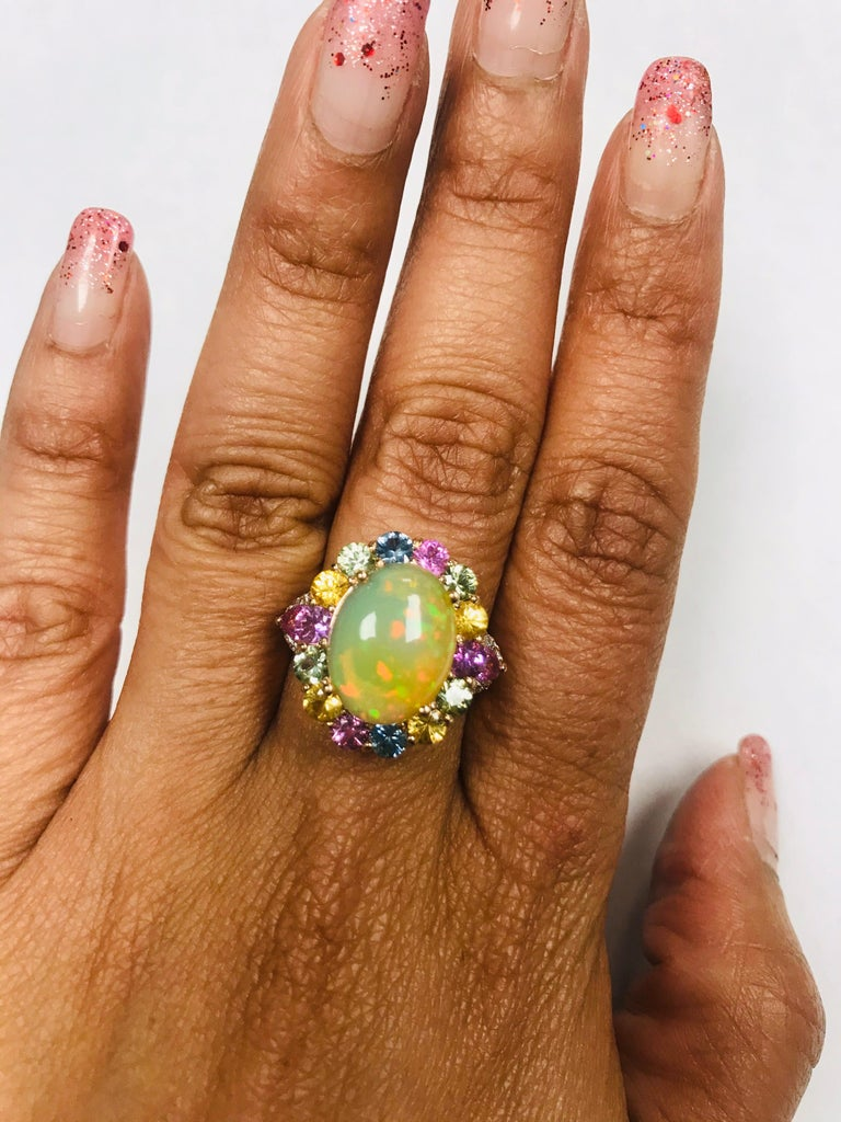 6.05 Carat Opal Sapphire Diamond 14 Karat Rose Gold Cocktail Ring For Sale 7