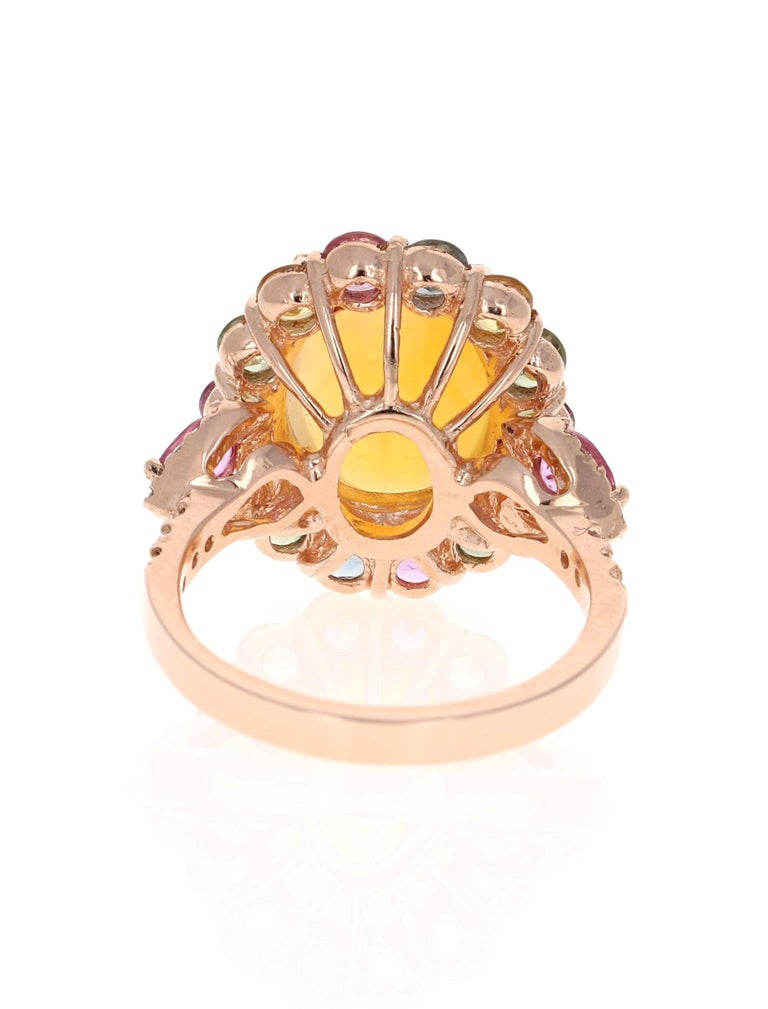6.05 Carat Opal Sapphire Diamond 14 Karat Rose Gold Cocktail Ring In New Condition For Sale In San Dimas, CA