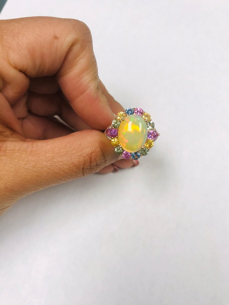 6.05 Carat Opal Sapphire Diamond 14 Karat Rose Gold Cocktail Ring For Sale 1