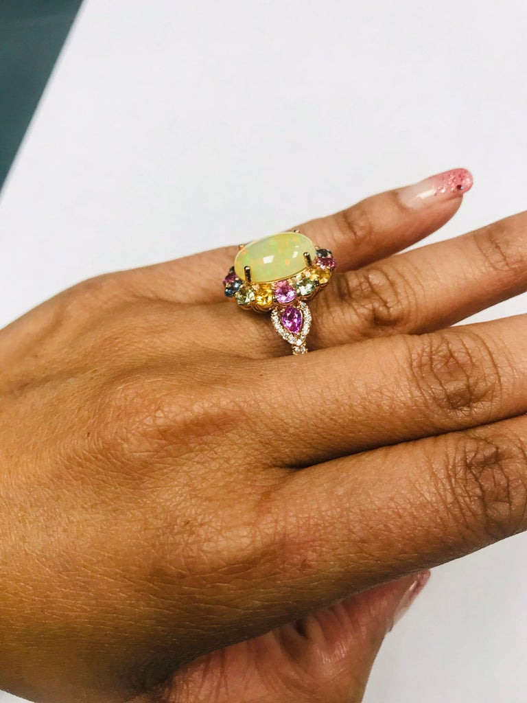 6.05 Carat Opal Sapphire Diamond 14 Karat Rose Gold Cocktail Ring For Sale 2