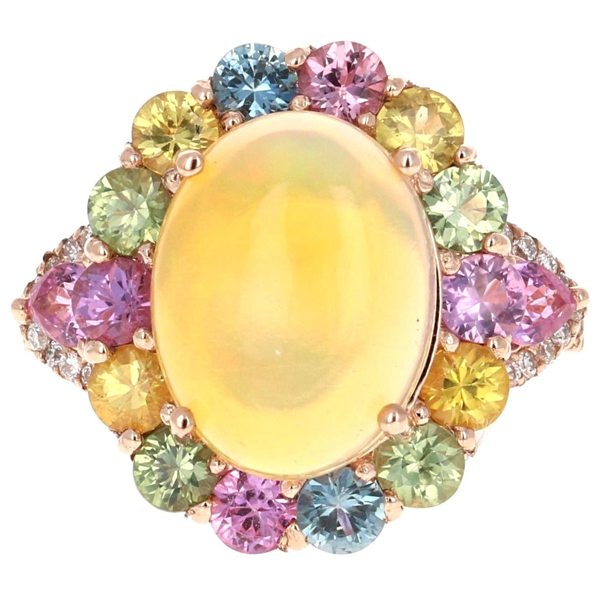 6.05 Carat Natural Opal Multi Sapphire Diamond 14 Karat Rose Gold Cocktail Ring