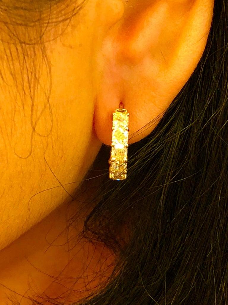 Radiant Cut 6.05 Carat Radiant Fancy Intense Yellow Diamond Hoop Earrings For Sale