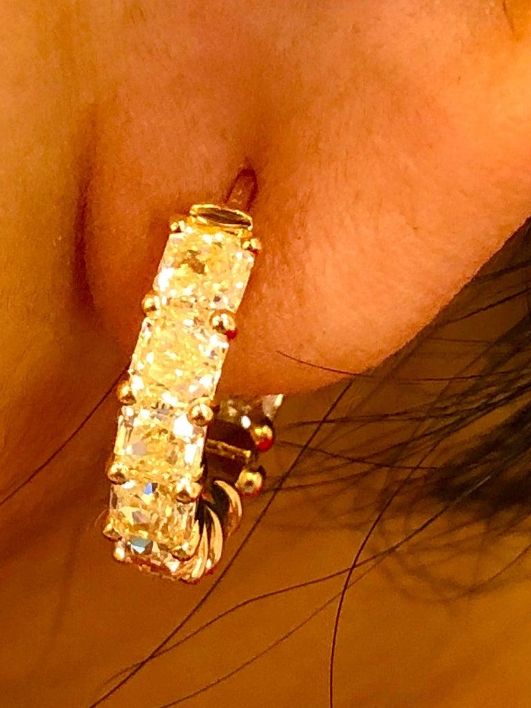 Women's 6.05 Carat Radiant Fancy Intense Yellow Diamond Hoop Earrings For Sale