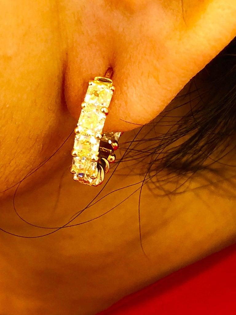 6.05 Carat Radiant Fancy Intense Yellow Diamond Hoop Earrings For Sale 1