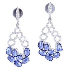 6.05 Carat Sapphire Diamond 18 Karat Gold Earrings
