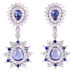 Sapphire Diamond 18 Karat White Gold Earrings