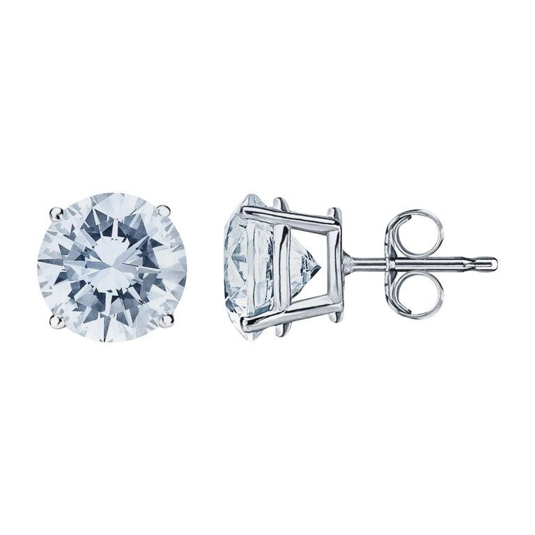 6.05 Carat Diamond Stud Earrings For Sale