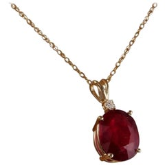 6.05 Carat Natural Red Ruby and Diamond 14 Karat Solid Yellow Gold Necklace