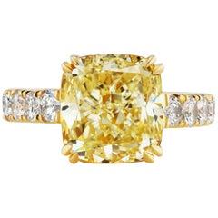6.06 Carat Fancy Light Yellow Cushion Diamond Ring in Yellow Gold GIA