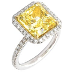 6.06 Carat Fancy Yellow Square Radiant Diamond Halo Engagement Ring GIA
