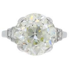 6.06 Carat Old European Cut Diamond Ring in Platinum