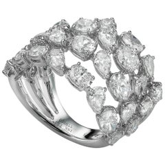 6.06 Carat Oval Pear-shape Diamond 18 Karat White Gold Bombe Cocktail Ring
