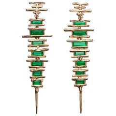 6.06 Carat Tribal Handmade Green Emerald Pink Gold Earrings