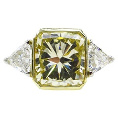 6.06 Carat Vintage Yellow Radiant Diamond 3-Stone Wedding Platinum EGL US