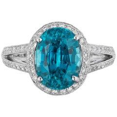 6.07 Carat Blue Zircon Diamond Cocktail Ring
