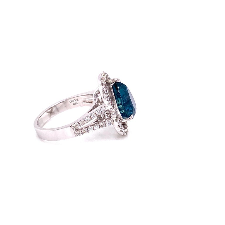 Contemporary 6.07 Carat GRS Certified Unheated Burmese Sapphire and Diamond Engagement Ring For Sale