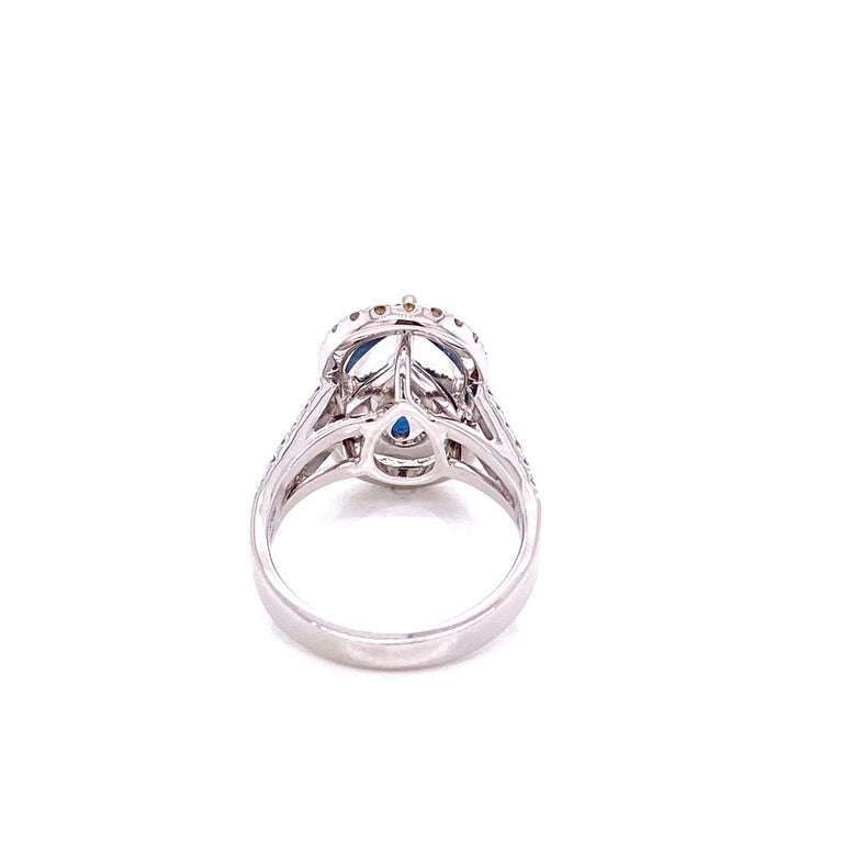 Pear Cut 6.07 Carat GRS Certified Unheated Burmese Sapphire and Diamond Engagement Ring For Sale