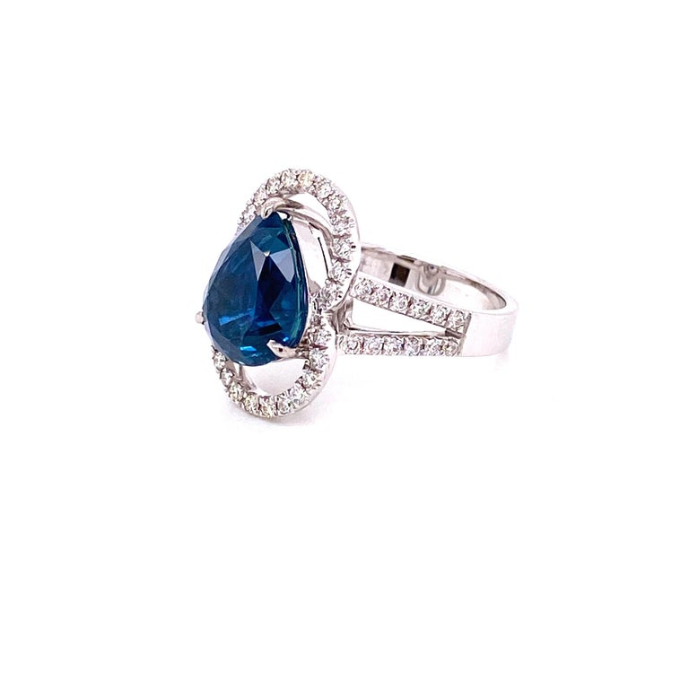 Women's or Men's 6.07 Carat GRS Certified Unheated Burmese Sapphire and Diamond Engagement Ring For Sale