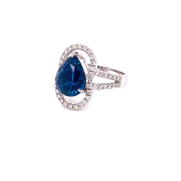 6.07 Carat GRS Certified Unheated Burmese Sapphire and Diamond Engagement Ring For Sale 1