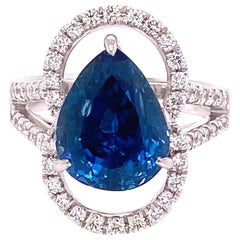6.07 Carat GRS Certified Unheated Burmese Sapphire and Diamond Engagement Ring