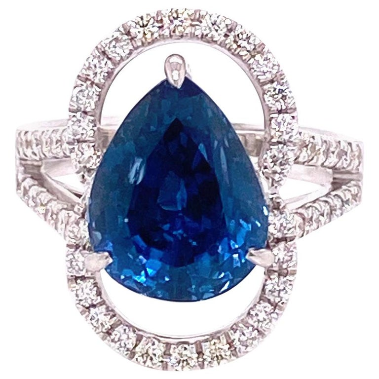 6.07 Carat GRS Certified Unheated Burmese Sapphire and Diamond Engagement Ring For Sale