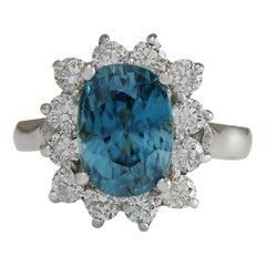 6.07 Carat Natural Zircon 18 Karat White Gold Diamond Ring