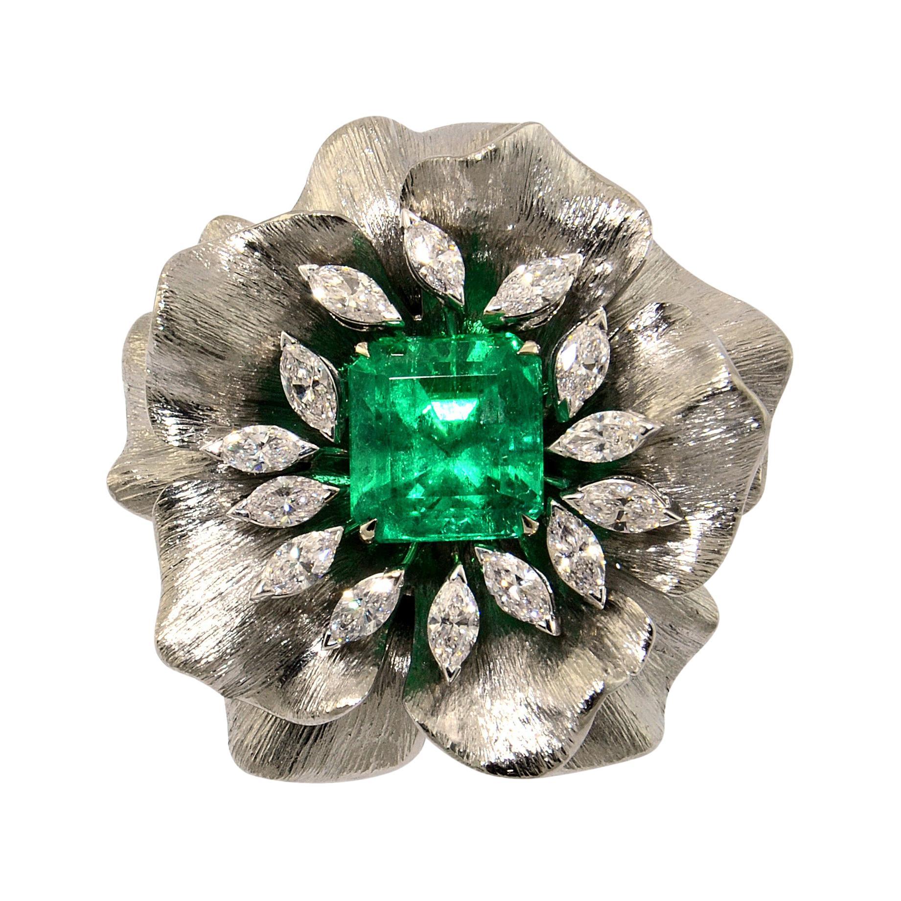 6.07 Emerald 1.03 Diamonds Titanium 18KT White Gold Made in Italy Ring