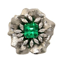 EMERALD Ct 6.07 Navette Titanium 18KT White Gold Made in Italy Ring