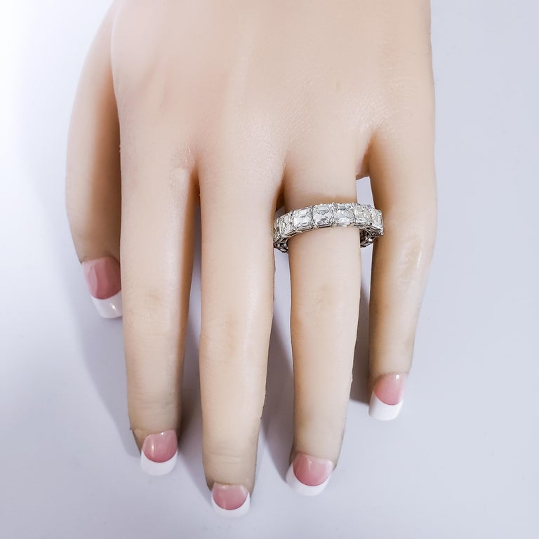 Contemporary 6.08 Carat Asscher Cut Diamond Eternity Wedding Band For Sale