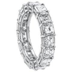 6.08 Carat Asscher Cut Diamond Eternity Wedding Band
