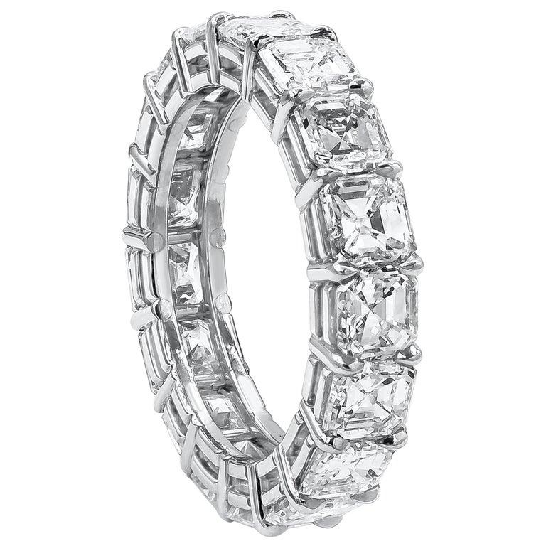 6.08 Carat Asscher Cut Diamond Eternity Wedding Band For Sale