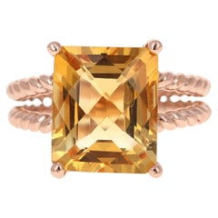 6.08 Carat Emerald Cut Citrine Quartz Rose Gold Cocktail Ring