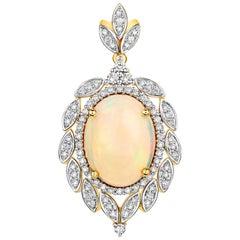 6.08 Carat Ethiopian Opal and White Diamond 14 Karat Yellow Gold Pendant