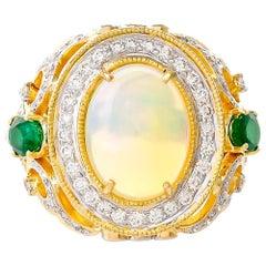 6.08 Carat Ethiopian Opal Emerald Diamond Ring