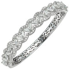 6.08 Carat Marquise and Round 18 Karat White Gold Diamond Bangle Bracelet