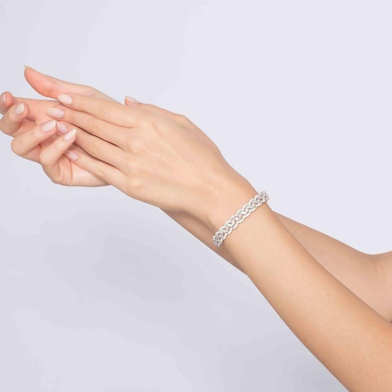 6.08 Carat Marquise Round Diamond 18 Karat White Gold Bangle Bracelet For Sale 1