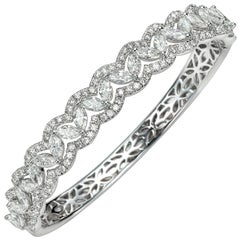 6.08 Carat Marquise Round Diamond 18 Karat White Gold Bangle Bracelet