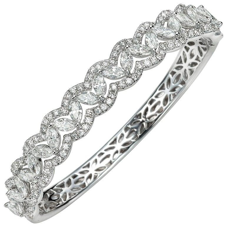6.08 Carat Marquise Round Diamond 18 Karat White Gold Bangle Bracelet For Sale