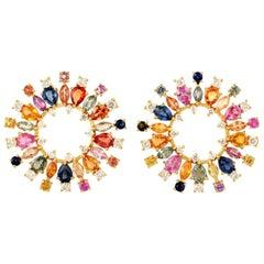 6.08 Carat Multi Sapphire Diamond 18 Karat Gold Sphere Earrings