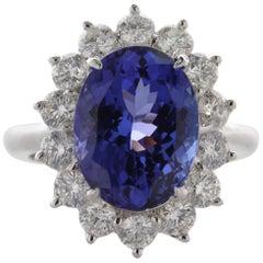 6.08 Carat Oval Cut Violet Blue Tanzanite Gemstone 18 Karat White Gold Ring