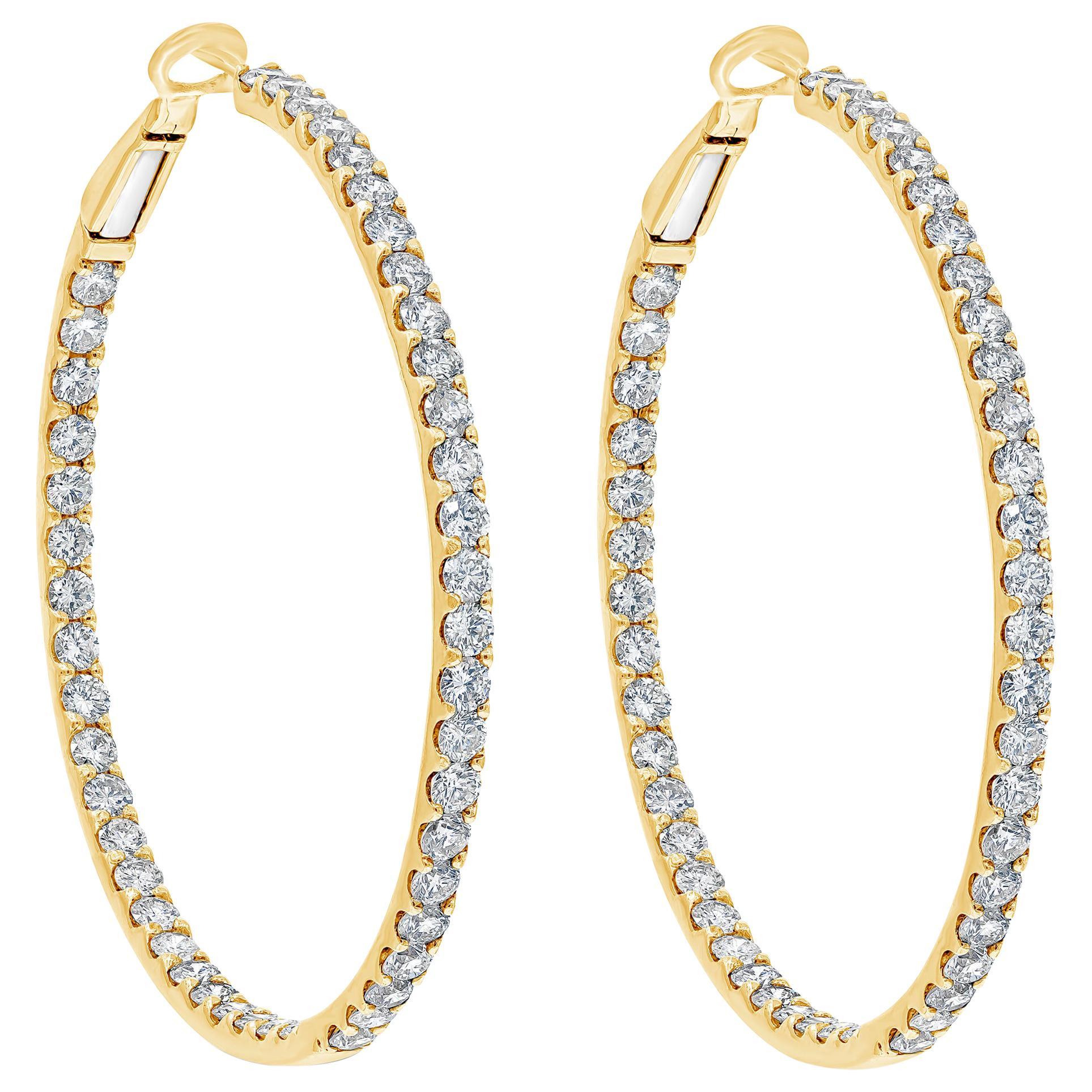 Roman Malakov, 6.08 Carat Round Brilliant Diamond Hoop Earrings
