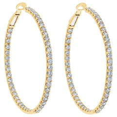 6.08 Carat Round Brilliant Diamond Hoop Earrings