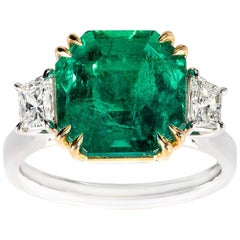 6.08ct Colombian Emerald and Diamond Ring in 18ct Yellow Gold and White Gold