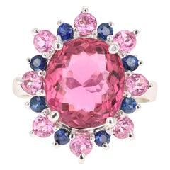 6.09 Carat Pink Tourmaline Blue Sapphire 14 Karat White Gold Cocktail Ring