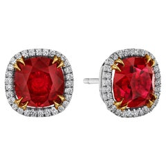 6.09 Carat 'total weight' Ruby Earrings with Diamond Halo