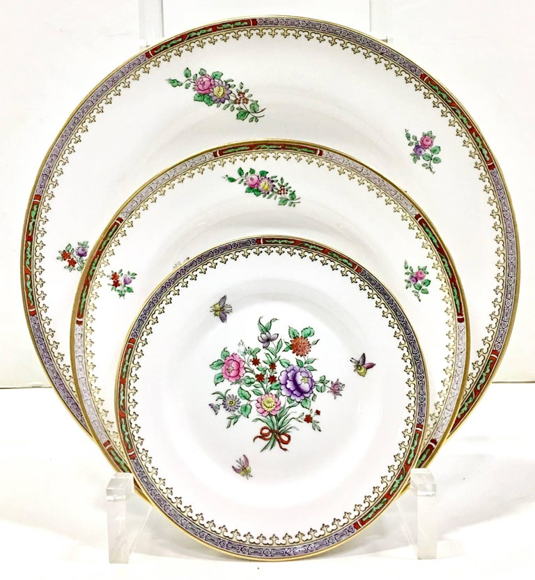 1960s Art Deco Style Spode England Bone China Lowestoft Set Of 32 Pieces